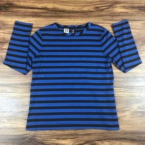 Anne Klein Women's Blue Black Stripe Top Size Med